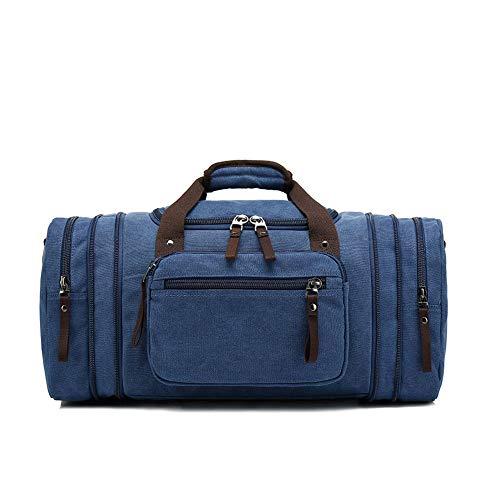AUGUR Große Kapazität Retro-Handtasche, Reisetasche Leinwand Diagonale Tasche, Kurzstrecken-Reise Camping Rucksack Fitness Sporttasche, Unisex,Blau