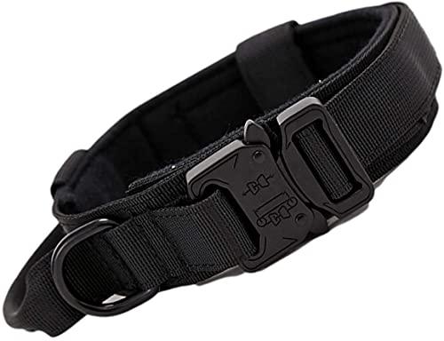 AXINOUDA Collare Tattico per Cani Regolabile con Maniglia di Comando, Collare Militare in Nylon con Fibbia in Metallo per Cani di Taglia Media e Grande (Nero, M:38-47cm)