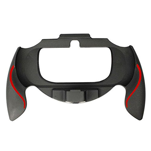 Assecure soft touch controller grip handle attachment for Sony PS Vita PSV - (Black & red)