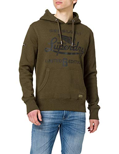 Superdry Mens Military Graphic Hood Hooded Sweatshirt, Black Olive Grit, XL