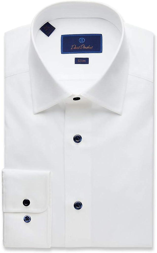 David Donahue Mens Slim Fit Long Sleeve Twill Dress Shirt,White,17