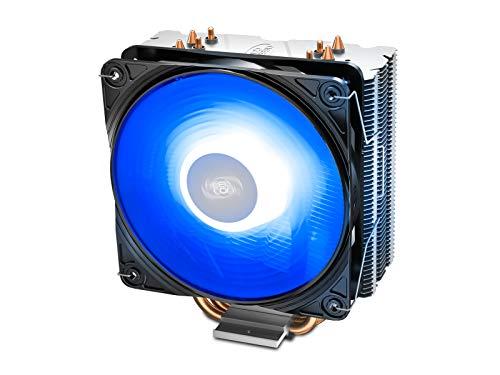 DEEP COOL GAMMAXX 400 V2 Blue, CPU Kühler mit 4 Heatpipes, Prozessorlüfter für Intel und AMD CPUs, 120mm PWM Lüfter, Blau LED
