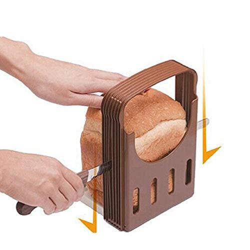 WEDFTGF - Rebanadora de pan ajustable y plegable con bandeja para migas, fácil de usar, portátil, diseño antideslizante, parte inferior adecuada para cortar pan, tostadas, pan, pan y sándwich