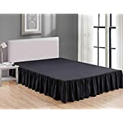 Sheets & Beyond Wrap Around Solid Luxury Hotel Quality Fabric Bedroom Dust Ruffle Wrinkle and Fade Resistant Gathered Bed Skirt 14 Inch Drop