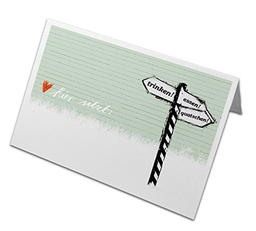50 Tischkarten aus Recyclingpapier Grün, Namenskarten, Platzkarten zum beschriften, klimaneutral, für Hochzeit, Geburtstag, Familienfeier, Jubiläum - Trinken! Essen! Quatschen! Schild Design, Lindgrün