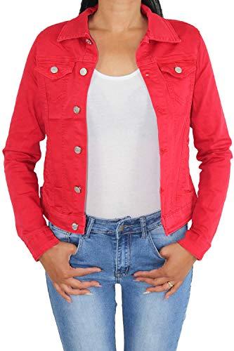 Sotala Damen Kurze Jeansjacke Damenjacke Denim Stretch Jeans Jacket Übergangsjacke Übergröße Rot