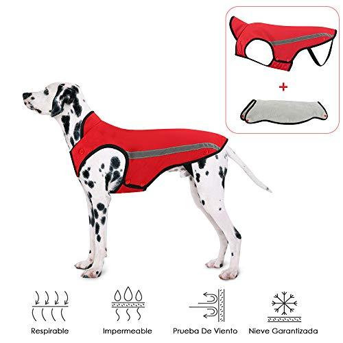 SlowTon Hundejacke Wasserdicht, Hunde Mantel, Verstellbarer Nacken und Brustgröße Haustierweste mit reflektierenden Streifen Wasserdichter Hundepullover Schneeanzug Warm Halten