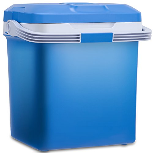 COSTWAY 26L Elektrische Kühlbox Wärmebox Autokühlbox Reisekühlschrank Mini-Kühlschrank DC12V AC 230V A++kühl bis 7°C warm von 50-65°C (Blau)