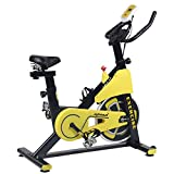 LEPAK Upright Exercise Bike for Gym Home,Indoor Stationary Cycling Bike with LCD Monitor, Caged Pedals, Adjustable Seat Cushion & Handlebar & Base for Home Workout Training Fitness Cardio Bike,Yellow