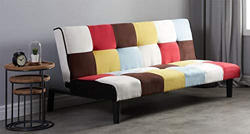 Birlea Rainbow Sofa Bed 3 Seater Settee Multi Coloured Fabric Scandinav