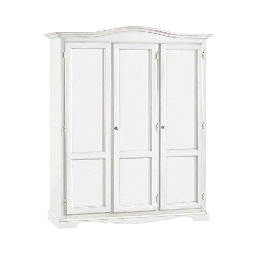 Armadio con 3 ante, stile classico, in legno massello e mdf con rifinitura in bianco opaco - Mis. 158 x 56 x 197