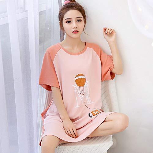 Ensemble Pyjama Femmes,Maison D'Été Doux Coton Cute Cartoon Rose Impression Grande Taille Chemise Décontractée Confortable Lâche Accueil Vêtements Peuvent Être Portés À L'Extérieur,Photo