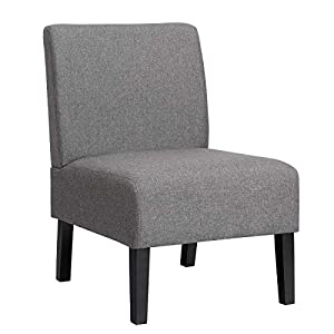 Giantex Armless Accent Chair, with Curved Backrest, Rubber Wood Legs, Soft Sponge, Comfortable Backrest, Upholstered Fabric Side Chairs, Living Room Chair (Grey)