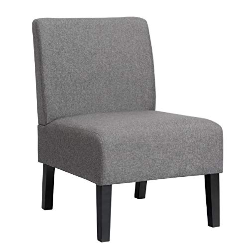 Giantex Armless Accent Chair, with Curved Backrest, Rubber Wood Legs, Soft Sponge, Comfortable Backrest, Upholstered Fabric Side Chairs, Living Room Slipper Chair (Grey)