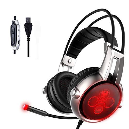 WQYRLJ USB Gaming Headset Multi-Channel Vibration 5.2 Surround Sound Casque Antibruit Lumineux avec Micro pour PC PS4 Jeu