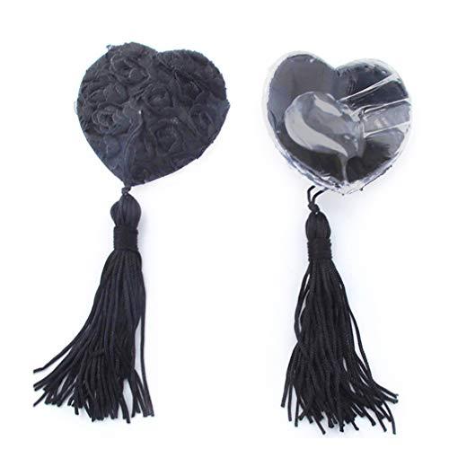 Bongles 1Pair Donne Rose capezzoli Sticker patè Petalo riutilizzabile adesivo Bra rilievo copertura nappe del seno (nero)