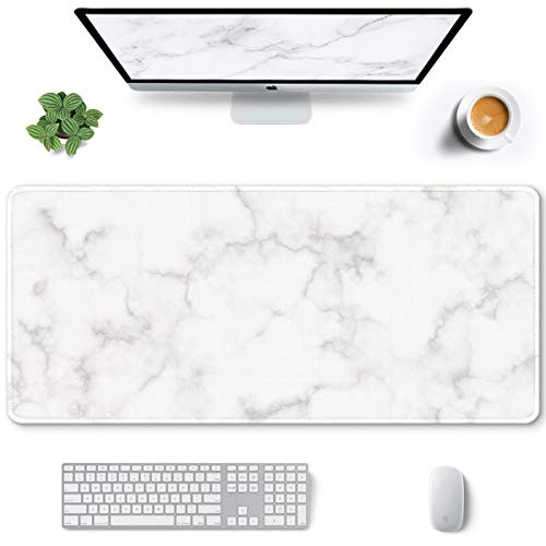 Auhoahsil Large Mouse Pad, Full Desk XXL Extended Gaming Mouse Pad 35' X 15', Waterproof Desk Mat with Stitched Edges, Non-Slip Laptop Computer Keyboard Mousepad for Office and Home, Marble Design