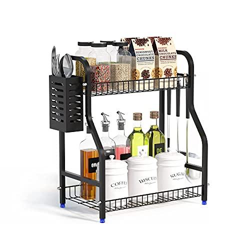 Spice Rack Countertop Organizer With Cutlery chopsticks storage shelf, 2-Tier Bathroom Shelf Organizer countertop, Kitchen Rack Organizer for Spice Can Sauce Jars Bottle With 3 Hooks (Black, Steel)