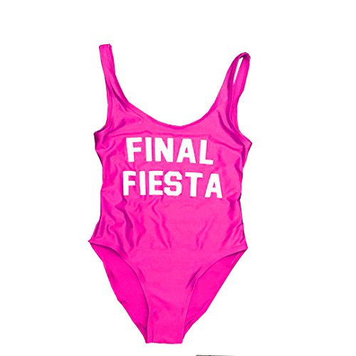 Final Fiesta Bathing Suit Bachelorette Swim Suit Honeymoon Swimwear Swimsuit Bride Beachwear Bodysuit (Purple, l)