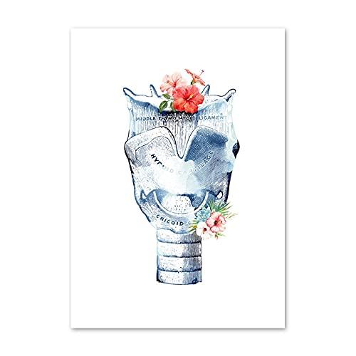 Blaue Blume menschliches Organanatomie-Druckplakat und Druckgrafik-Wandmalerei Leinwandmalerei f眉r 脛rzte dekorative Wandmalerei 60x80cmKanvas 1
