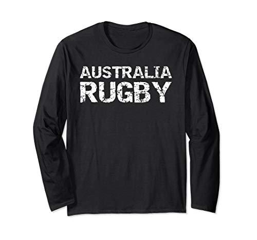 Distressed Rugby Quote Gift for Men Australia Rugby Langarmshirt