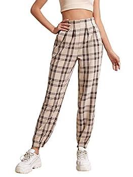 WDIRARA Women s Plaid Paper Bag Waist Pocket Sweatpants Casual Tartan Pants Khaki and Black M