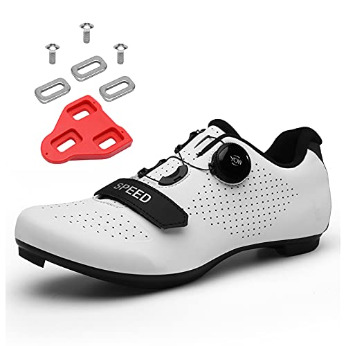 Scurtain Unisex Mens Womens Road Bike Cycling Shoes Riding Shoes with Compatible Cleat Peloton Shoe with SPD and Delta for Men Women Lock Pedal Bike Shoes Indoor Outdoor White 5.5 Men