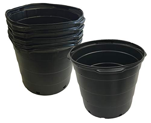 Viagrow 15 Gallon Round Nursery Trade Pots (5 Pack, Black) VHPP1500-5
