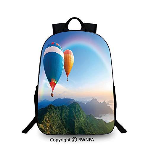 Mochila Escolar para niños, Globo de Aire Caliente, Lado de montaña con Cielo Transparente y arcoíris, Mochila Escolar Decorativa para niños, Azul Cielo