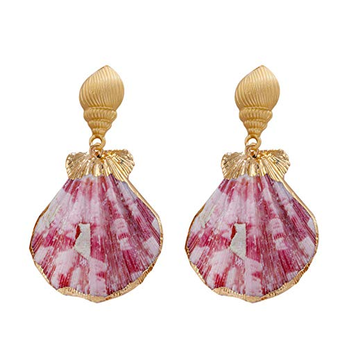 Natural Pink Shell Drop Earring Earring Colored Seashell Pendant Dangle Earrings For Women Fashion Accessories