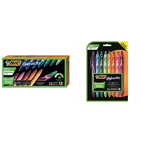 BIC Gel-Ocity Quick Dry Gel Pens, Medium Point Retractable Gel Pen (0.7mm), Assorted Colors, 12-Count & Gel-Ocity Quick Dry Gel Pens, Medium Point Retractable Gel Pen (0.7mm), Assorted Colors, 8-Count