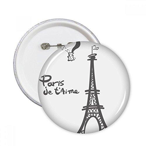 Línea de dibujo de silueta de la torre Eiffel Francia París clavijas redondas insignia botón ropa decoración regalo 5pcs
