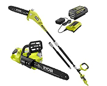 RYOBI RY40530-PS 14 in 40-Volt Brushless Lithium-Ion Cordless Chainsaw and 10 in Cordless Pole Saw 4 Ah Battery and Charger Included