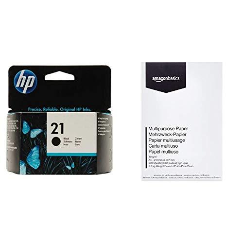 HP 21 C9351AE Cartuccia Originale, da 190 Pagine, Compatibile con Stampanti HP Deskjet, Nero & Amazon Basics Carta da stampa multiuso A4 80gsm, 1 risma, 500 fogli, bianco