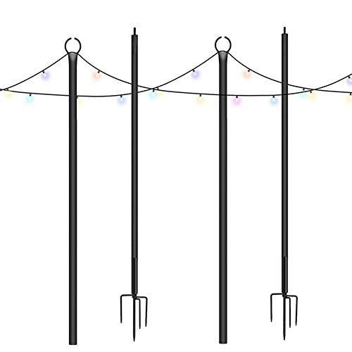 Brillihood Outside String Light Poles, 9Ft Sturdy 4-Prong Fork Pole Stand for Hanging String Lights + Used for Patio, Backyard, Courtyard Garden, Christmas, Café Wedding Light Décor, 2-Pack