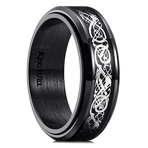 King Will Spinner 8mm Stainless Steel Ring Anxiety Relief Sliver Celtic Dragon Black Carbon Fibre Inlay Fidget Wedding Ring 9