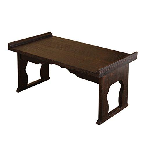 Tables de Pique-Nique Brûlé Tongmu Bay fenêtre Table Solide Bois Tatami Table à thé Pliant fenêtre Table Petite Table Table de Plancher (Color : Brown, Size : 60 * 34 * 27cm)
