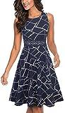 HOMEYEE Women's Sleeveless Cocktail A-Line Embroidery Party Summer Wedding Guest Dress A079(12,Dark Blue Geometry)