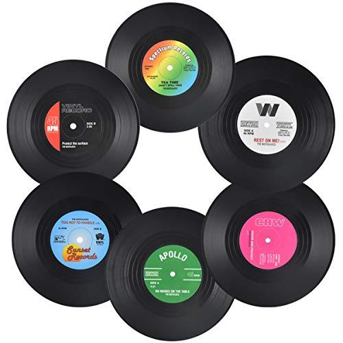 Jinlaili 6er-Set Retro-Vinyl-Untersetzer, Retro-Untersetzer für Getränke, Schallplatten Untersetzer für Getränke, rutschfeste Untersetzer für Kaffee Tee Bierkrug Weinglasflasche