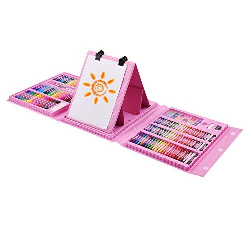 Aibecy Juego de 176pcs de arte,kit de pintura y dibujo con caballete de doble cara,crayones,pasteles al...