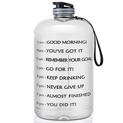 Price comparison product image FRETREE Gallon Water Bottle Portable Water Jug - Fitness Sports Daily Water Bottle with Motivational Time Marker,  Leak-Proof Gym Bottle for Outdoor Camping