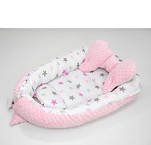 Juego de 2 piezas para el mundo de los sueños. Juego de cuna de bebé con cojín (forma de mariposa), 64 x 90 cm / 45 x 25 cm, nido para bebé, cuna de viaje, nido de algodón 100% (estrellas de colores y rosa)