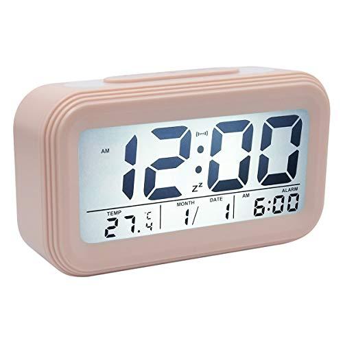 COOJA Reveil Rose Fille, Horloge Numerique Reveille Enfant avec Grand Chiffre, Reveil Electronique de Voyage avec Date Température Eclairage Reveil Digital a Pile Alarm Clock