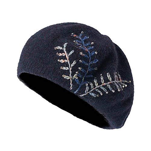 Vintage leichte super weiche Wolle Baumwolle häkeln Beanie Stricken Slouchy Baskenmütze Hut Strass Dekoration 56-58,5 cm,Blau