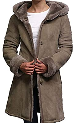BRANDSLOCK Women Spanish Merino Genuine Shearling Sheepskin Leather Toscana Coat (Large / (Fits Chest: 38-40 inches), Suede Grey)