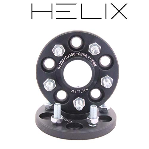 HELIX ハブ付 ワイドトレッドスペーサー 5H PCD100 15mm 内径56mm M12XP1.25 マットブラック【2枚セット】...