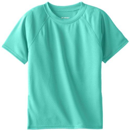 Kanu Surf Boys' Big Short Sleeve UPF 50+ Rashguard Swim Shirt, Solid Atlantis, X-Small (6)