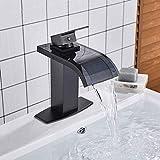 Waschtischmischer Wasserhahn Schwarzbronze mit Glaswaschbecken Wasserhahn Badarmaturen Einhand-Bad Heiß- und Kaltwassermischer