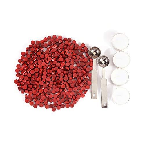 Mogokoyo 360 Stück Achtkantig Siegelwachs Siegellack Perlen Set mit 2 Stück Wachs Schmelzen Löffel und 4 Stück Kerzen für Versiegelung Umschlag/Einladungen/Geschenk (Rot)