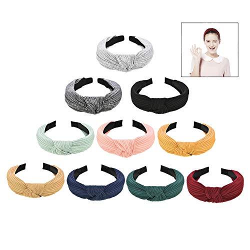 iwobi 10 stuks haarband dames vintage breed haarband retro hoofdbanden haarbanden met knopen kop warm